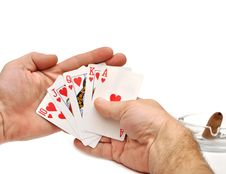 Free Man S Hand Lifting Up Playing Cards Royalty Free Stock Photography - 18176177
