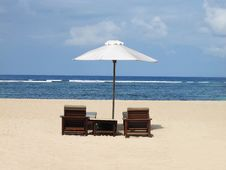 Beach Umbrella And Chairs Stock Photography