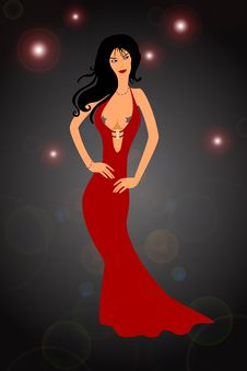 Free Sexy Woman In Red Dress Stock Image - 18176721