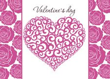Free Valentine Background With Heart And Roses Stock Image - 18178411