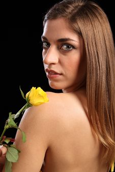 Free Portrait Of Beautiful Woman With Yellow Rose Stock Images - 18178474