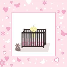 Baby Girl In Crib, Open Space For Your Text Stock Images