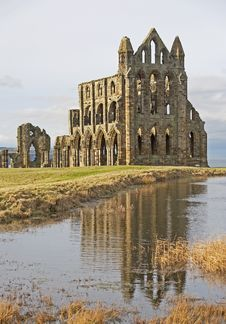 Free Ancient English Abbey With Reflection Stock Images - 18178834