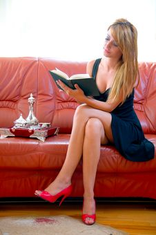 Woman Reading A Book On The Sofa Stock Images