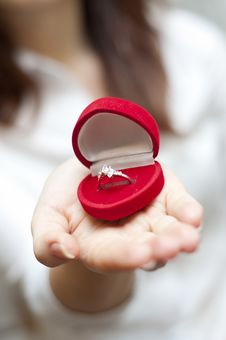 Free Red Box With Engagement Ring Inside Royalty Free Stock Photo - 18180845