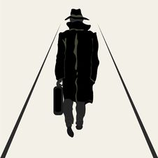 Silhouette Going Men With Briefcase In Hand Royalty Free Stock Photography