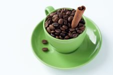 Free Coffee Beans In A Green Cup Royalty Free Stock Images - 18181709