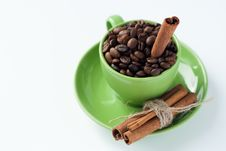 Free Coffee Beans In A Green Cup Royalty Free Stock Image - 18181726