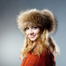 Free Young Beautiful Girl Rejoices To Snow Stock Images - 18183024