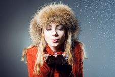 Free Young Beautiful Girl Rejoices To Snow Stock Photos - 18183053