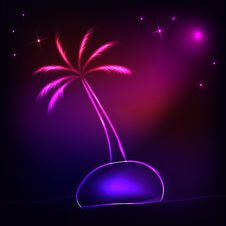 Free Island With A Neon Palm Tree Royalty Free Stock Photography - 18183137