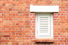 Free Old Brick Wall With White Window Stock Image - 18183161