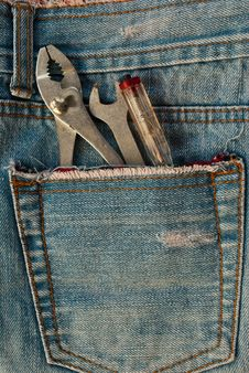 Tool In Jean Pocket. Royalty Free Stock Photography