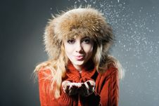 Free Young Beautiful Girl Rejoices To Snow Stock Photography - 18183222