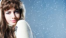 Free Young Beautiful Girl Rejoices To Snow Stock Image - 18183501
