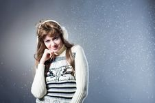Free Young Beautiful Girl Rejoices To Snow Royalty Free Stock Photos - 18183778