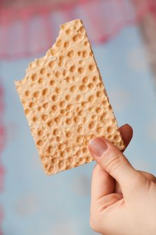 Free Bitten Bread Crisps In A Hand Stock Photography - 18183792