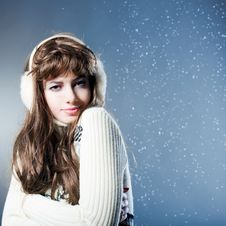 Free Young Beautiful Girl Rejoices To Snow Stock Photos - 18183843