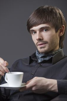Man With Cup Coffee Stock Photos