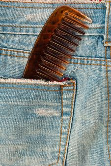 Free Comb In Blue Jean. Royalty Free Stock Image - 18184106