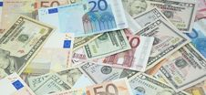 Free Heap Of Dollars And Euros Stock Photo - 18184190