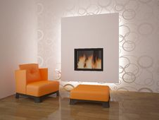 Free Nice Interior With Fire Stock Image - 18184981