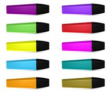 Ten Highlighters Of Different Colors Stock Photos