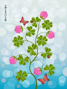 Free Floral Background With A Clover Royalty Free Stock Photography - 18185227