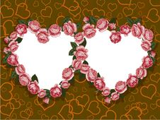 Free Rose Two Hearts Frame Stock Photos - 18185453