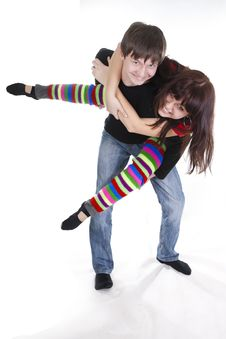 Free Cheerful Young Couple Stock Images - 18185454
