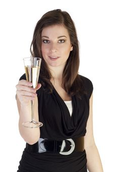 Free Beautiful Girl With Glass Of Champagne Stock Images - 18185574