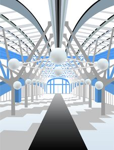 White Modern Interior Corridor Stock Photo
