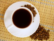 Strong Coffee And Coffee Beans Royalty Free Stock Images