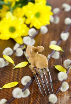 Free Fork And Easter Bunny For Easter Royalty Free Stock Photos - 18187208