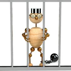 Free 3d Wood Man As A Prisoner Stock Images - 18187414