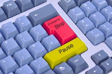 Emergency Stop & Pause On A Computer Keyboard Stock Photo