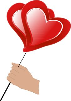 Man S  Hand Holds Red Air Ball Of Heart Royalty Free Stock Image