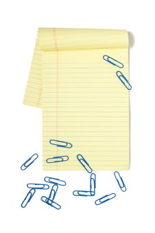 Legal Pad With Paper Clips Stock Photography