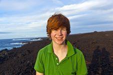 Boy Walking In Volcanic Area Stock Image