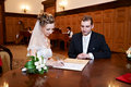 Free Happy Bride And Groom On Solemn Registration Stock Images - 18199074