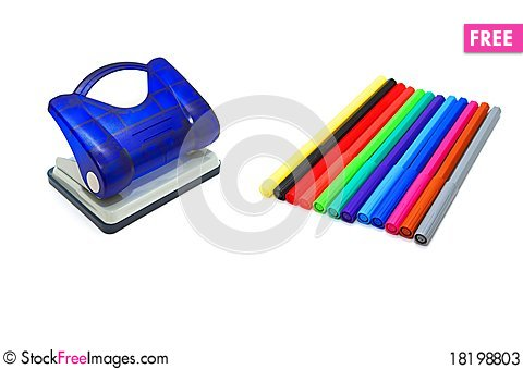 Free Hole Puncher And Soft-tip Pens Stock Photos - 18198803