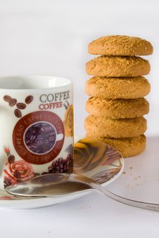 Free Coffee Cup And Biscuit Royalty Free Stock Image - 18190096