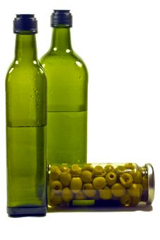 Free Olives And Bottles Royalty Free Stock Images - 18190509