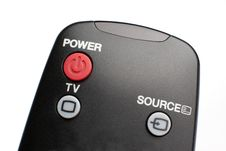 Black Remote Control On White Background Royalty Free Stock Photo