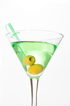 Free Green Alcohol Cocktail With Martini And Olives Royalty Free Stock Photo - 18191305