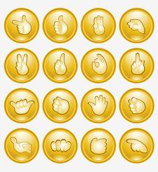 Yellow Finger Button Arm Icon Stock Photo