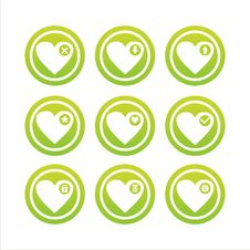 Free Green Hearts Signs Royalty Free Stock Image - 18196036
