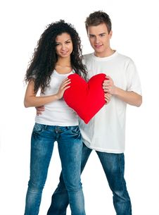 Young Couple With A Heart Royalty Free Stock Image