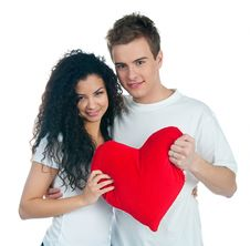 Young Couple With A Heart Stock Photography