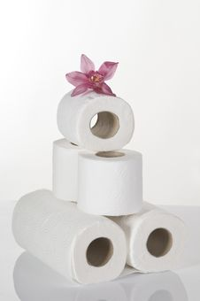 Free Concept Still Life With Toilet Paper Pink Orchid Royalty Free Stock Photography - 18197257